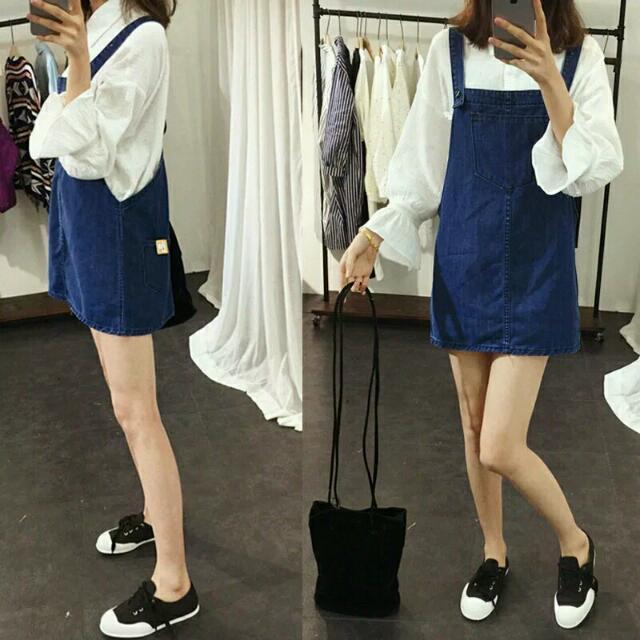 🎊全新🎊 深藍牛仔吊帶裙 短裙