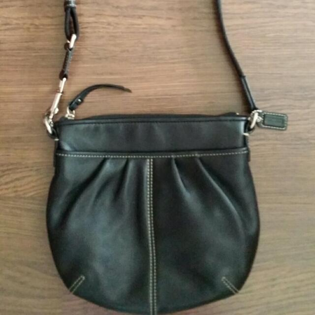 ... france authentic preloved coach black leather sling bag. hardly used.  condition 7 10. ... 2c9e54b56a5d5