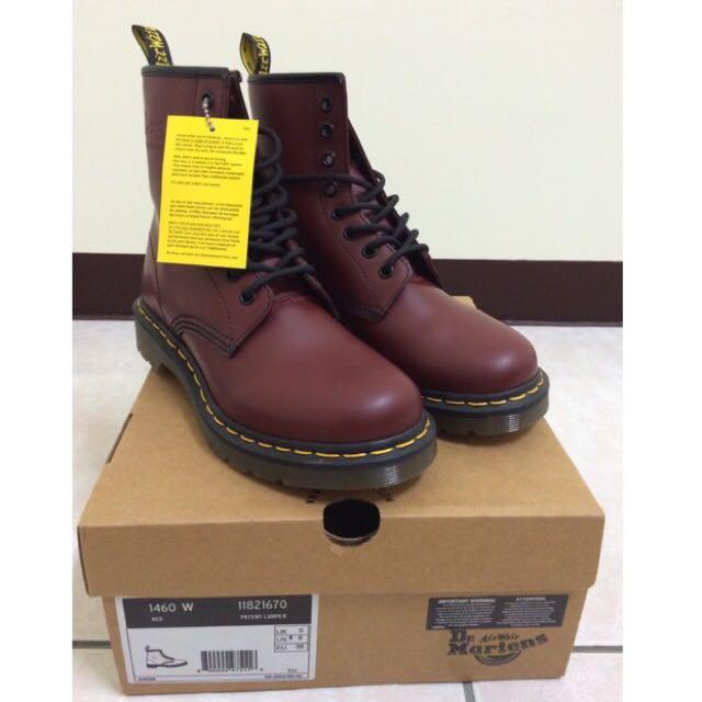Dr. Martens 馬丁靴 8孔 酒紅 全新 UK5