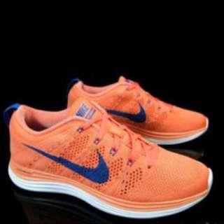 Nike Flyknit Lunar+1 粉橘藍勾編織鞋(降價)