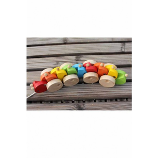 Colorful Caterpillar Tractor Wooden Toy