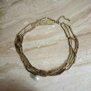 金竹節珍珠項鍊