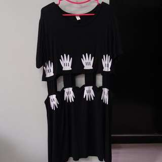 [NEW] Hand Print Black Dress