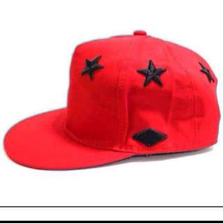 Red Stampd Star Snapback Cap