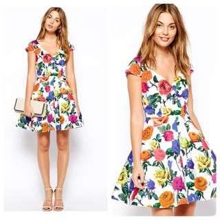 🌟SALE🌟BNWT ASOS PETITE Exclusive Bardot Dress in Multi Colour Floral SIZE UK8