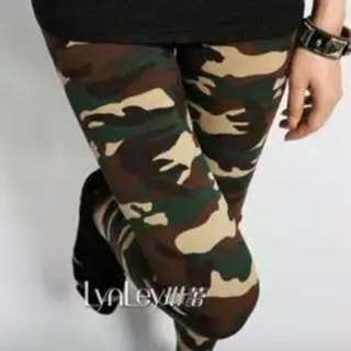 Women's Sexy Army Green Camouflage Printed Elastic Slim Pants Leggings Trousers