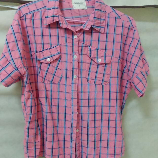 寬版格紋襯衫