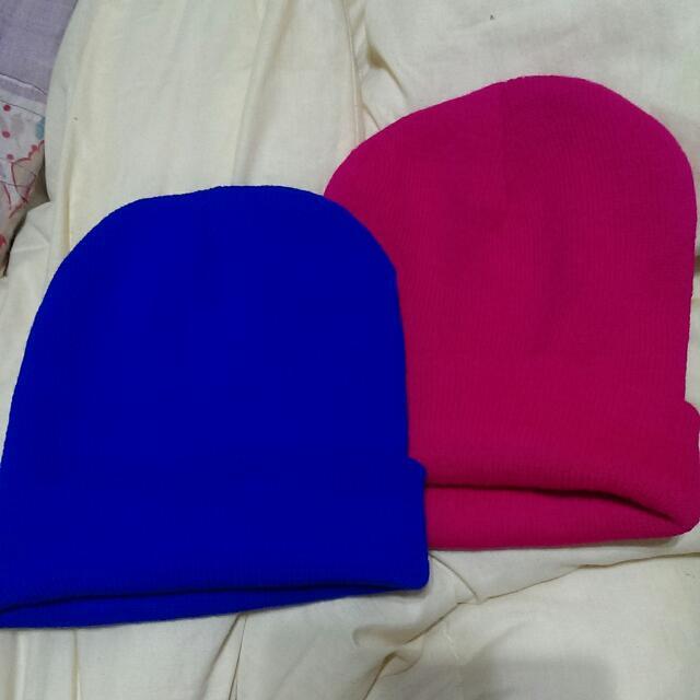 桃紅/寶藍 毛帽
