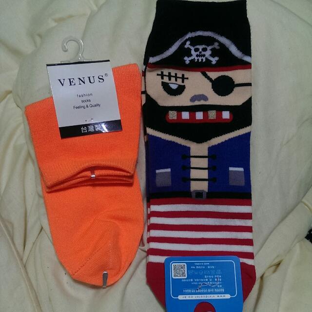 海盜/亮橘 襪子