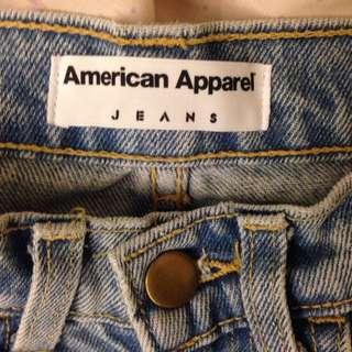 American Apparel 高腰直筒褲(淺色)