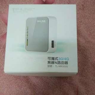TP-LINK 可攜式3G/4G無線N路由器TL-MR3020