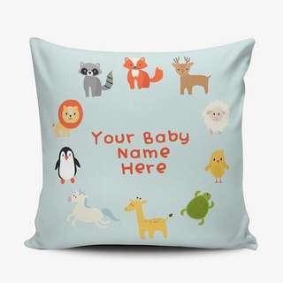 Cushion Pillow Cover Bantal Boneka & Sarung - Digital Print - Bisa Ganti Nama - Birthday Wedding Baby Gift