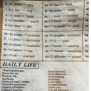 English-Japanese Handkerchief