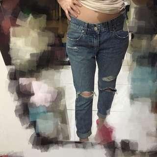 正韓 窄版Boyfriend男友刷破牛仔褲