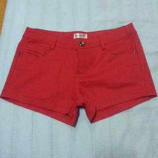 全新紅色短褲
