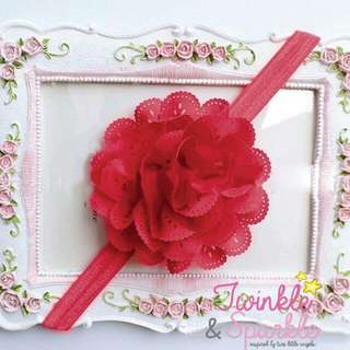 Soft Lace Flower Elastic Headband (RED)