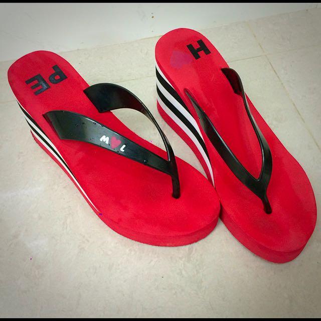[25cm]楔形 厚底 紅色 黑白條紋 夾腳拖鞋