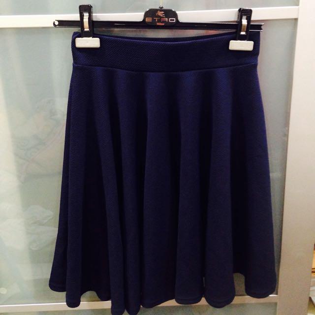 全新深藍色中長A字裙