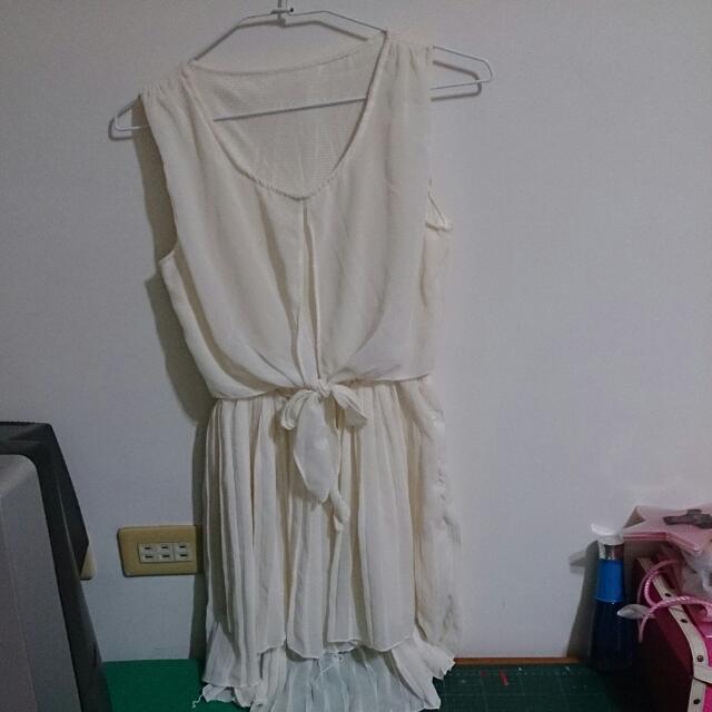 二手*全白雪紡紗洋裝