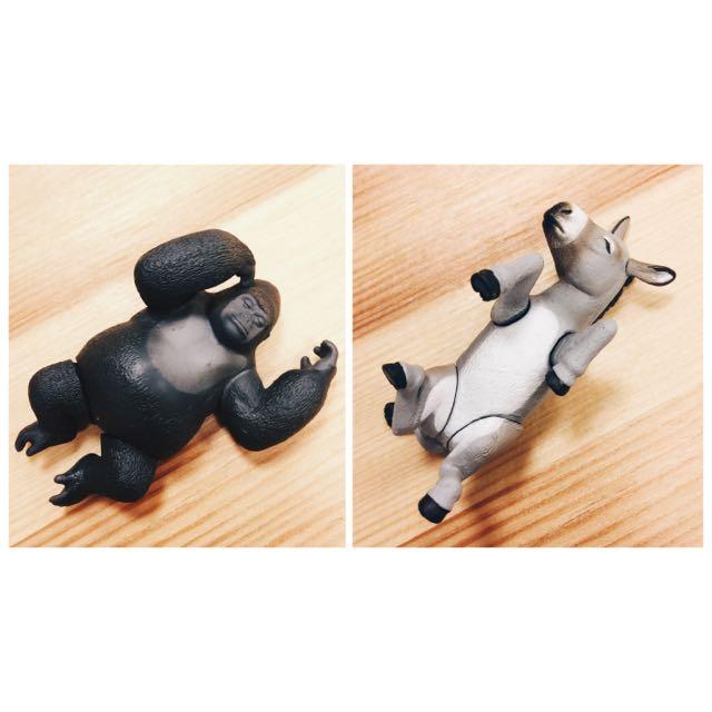 睡覺動物扭蛋系列(大猩猩 + 驢子)兩隻合售