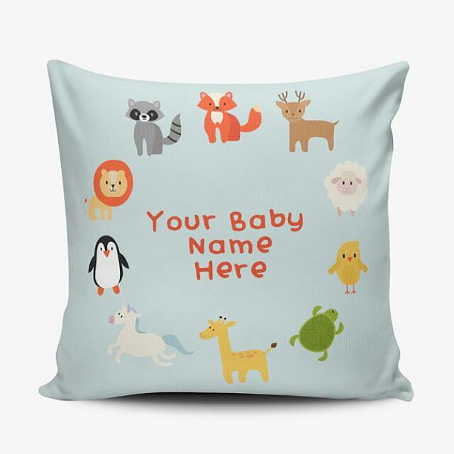 Cushion Pillow Cover Bantal Boneka & Sarung - Digital Print - Bisa Ganti Nama - Birthday Wedding Baby Gift