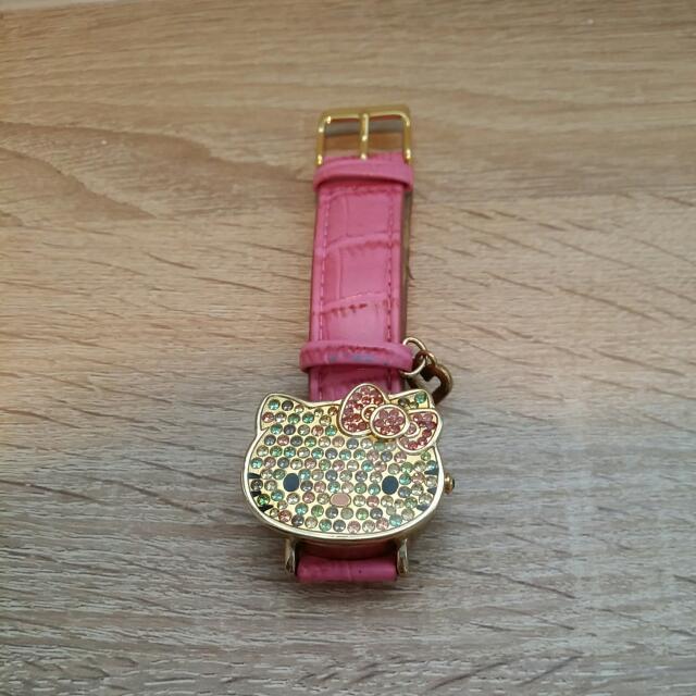 Kitty 彩色 水晶  手錶