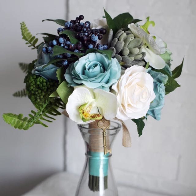 Sellabrations] Non Living Artificial Tiffany Blue Wedding Hand ...