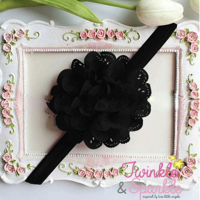 Soft Lace Flower Elastic Headband (BLACK)