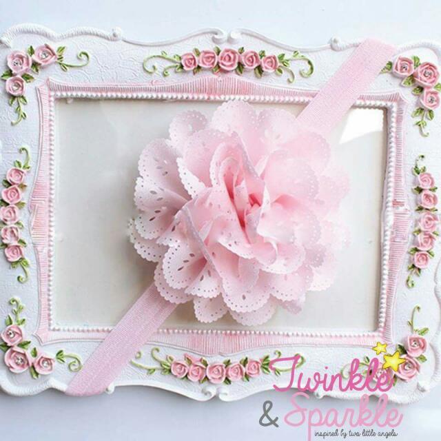 Soft Lace Flower Elastic Headband (LIGHT PINK)