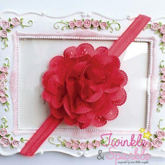 Soft Lace Flower Elastic Headband (RED)