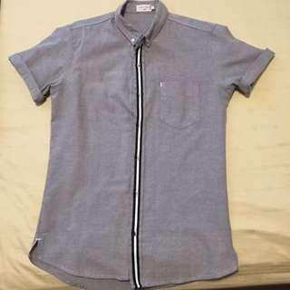 Zalora Grosgrain Grey Short Sleeve Short