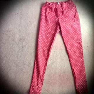 桃紅點點鬆緊褲