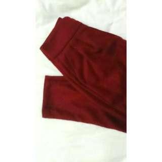 酒紅色 西裝褲