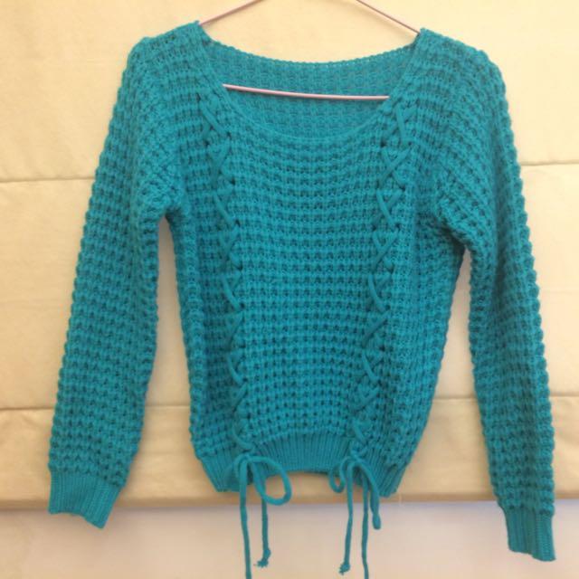 [二手]藍綠色粗針織毛衣