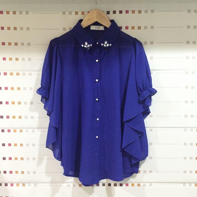 全新✨寶藍色寶石雪紡衫 垂袖設計修飾身型