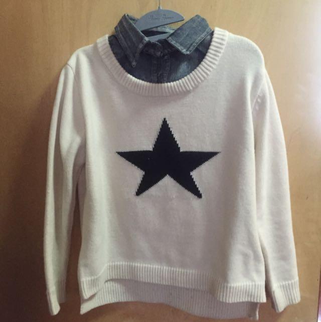 星星 假兩件 毛衣 毛踢
