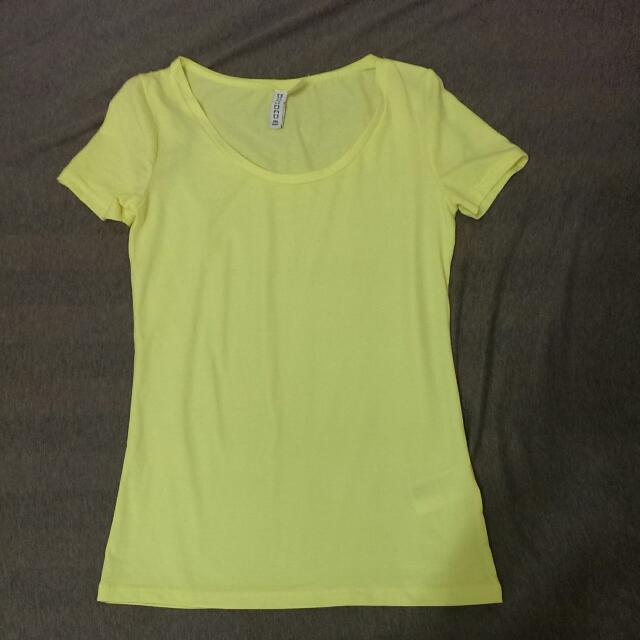 H&M副牌DIVIDCD螢光黃短袖T-shirt
