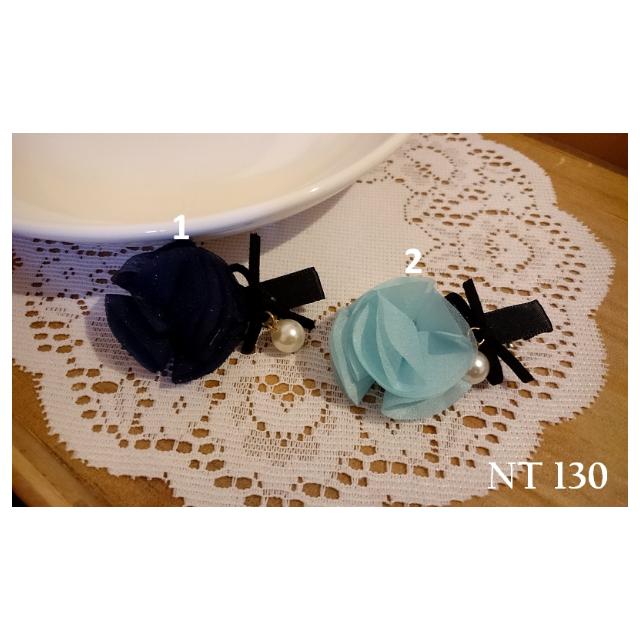 IRENE韓國飾品❥玫瑰雪紡珍珠壓夾