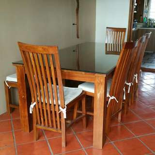 **Pending**Teak Wood Dining Table (8 Seaters) With Glass Table Top