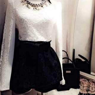 蝴蝶結蕾絲褲裙