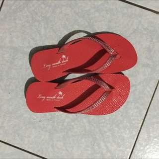 紅橘 水鑽 拖鞋