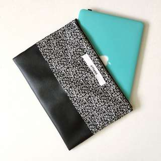"Handmade Duo Design Fabric With Leather Bottom Fabric Top 14"" Laptop Sleeve"