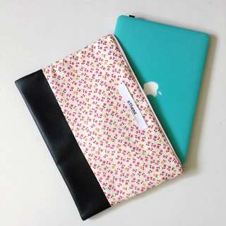 Handmade Duo Design Leather Bottom Fabric Top Laptop Sleeve