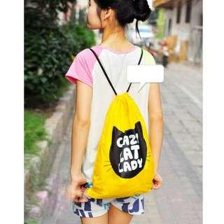 High quality String Bag Drawstring Backpack Tote School travel Bag Bookbags Sport Pack Iag polyester