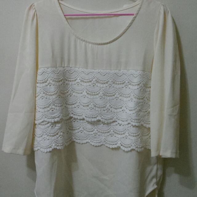 米色氣質雪紡衫 M