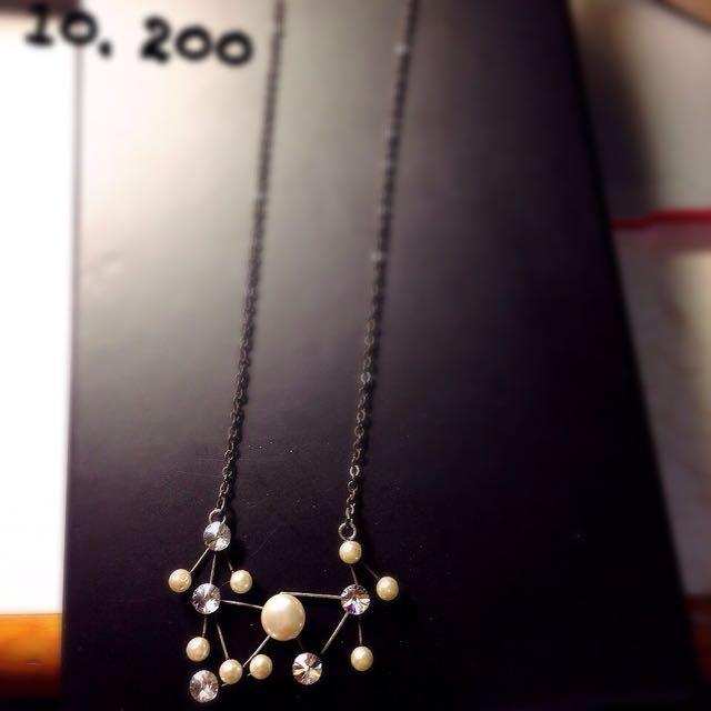 七星珍珠水鑽項鍊。全新