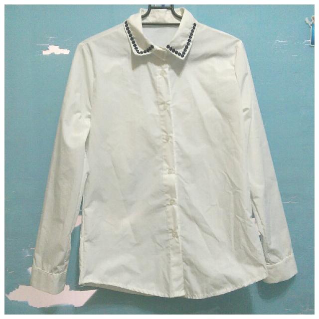 👉二手👈 復古刺繡翻領長袖白襯衫