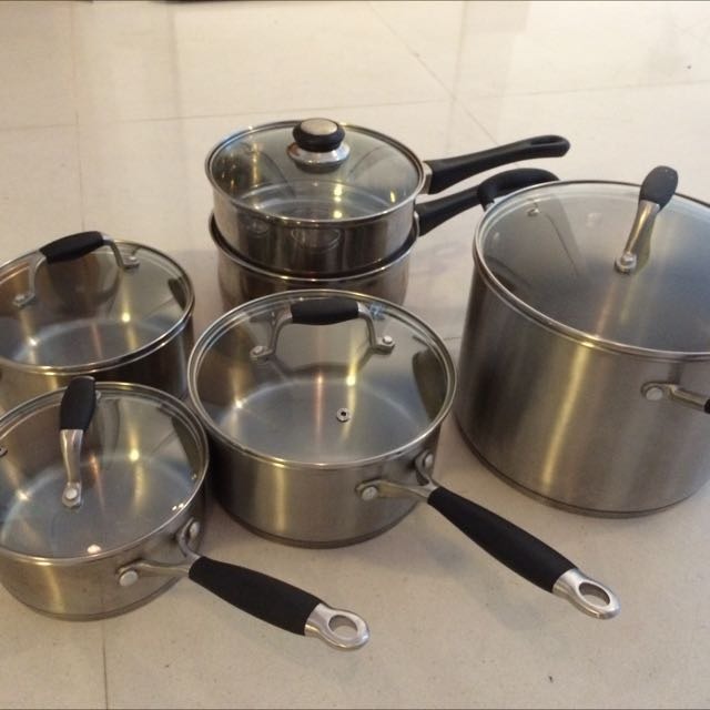 Arcosteel Premium Stainless Set Of 4 Saucepans With Glass Lids