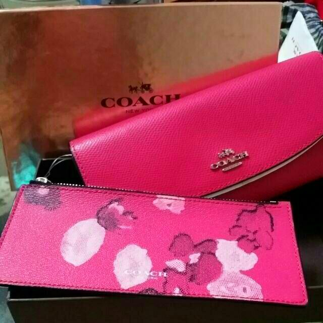 590fc954e6fe ... usa coach floral printed poppy slim wallet detachable pouch f53313 pink  ruby color womens fashion on