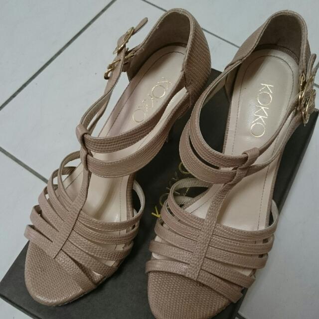 專櫃KOKKO 真皮細跟涼鞋
